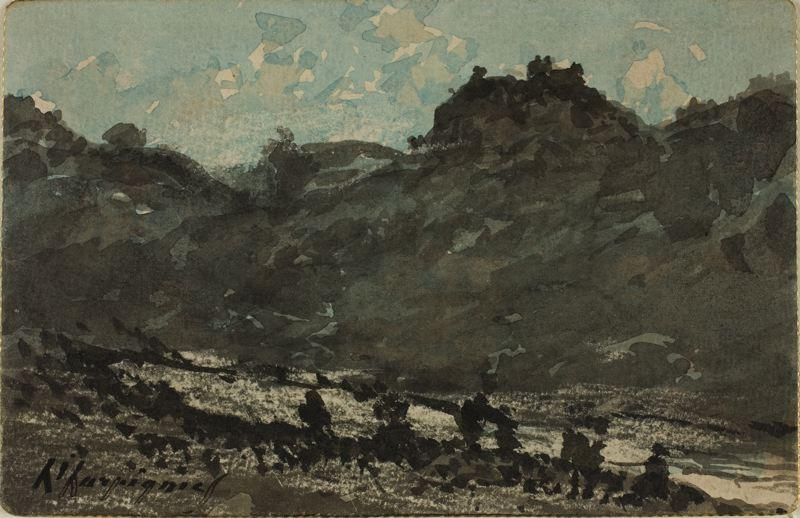 丘陵景观 与  河  通过 Henri-Joseph Harpignies (1819-1916, France)