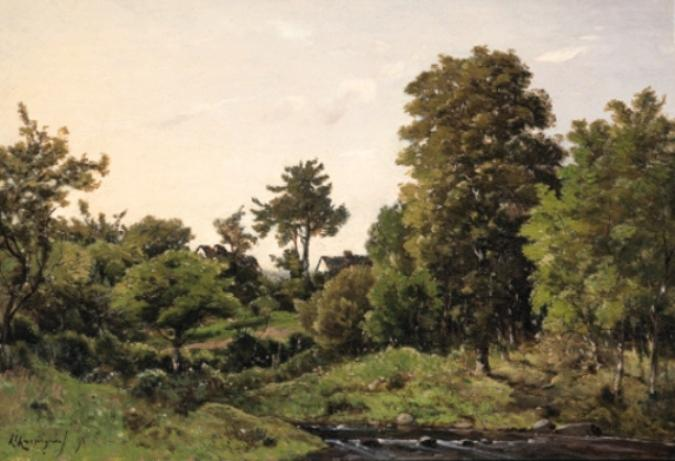 风景  附近  st.  私人 通过 Henri-Joseph Harpignies (1819-1916, France) | 畫再現 | ArtsDot.com