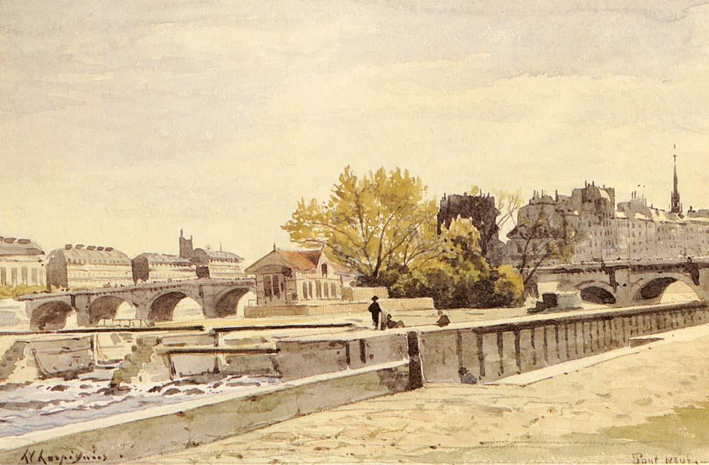 新桥,巴黎 通过 Henri-Joseph Harpignies (1819-1916, France)