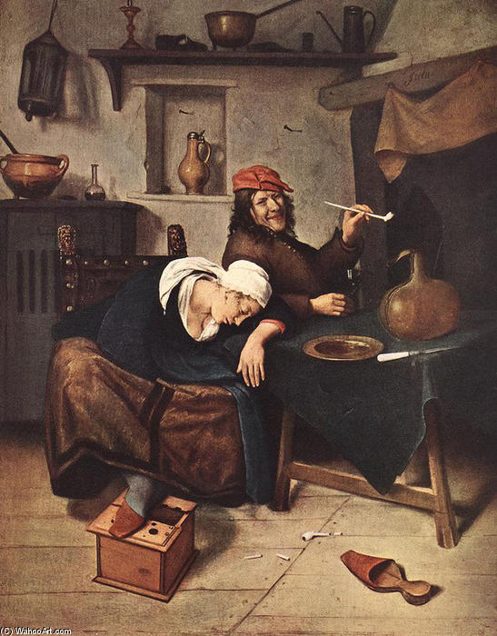 的  酒徒, 1660 通过 Jan Steen (1626-1679, Netherlands) | 幀打印 | ArtsDot.com