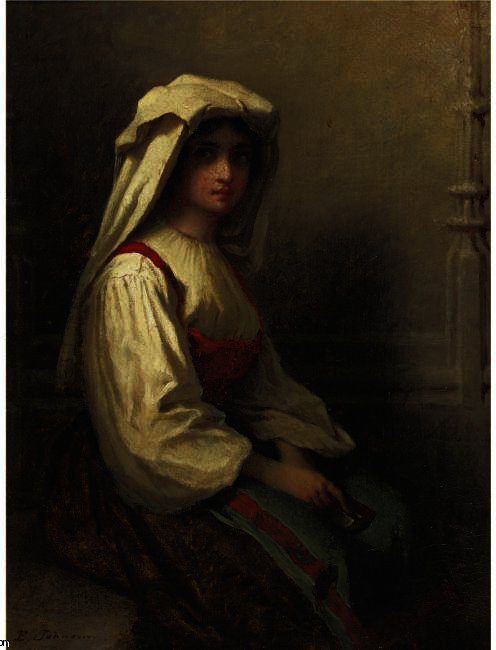 波希米亚女孩 通过 Jonathan Eastman Johnson (1824-1906, United Kingdom) | 幀打印 | ArtsDot.com