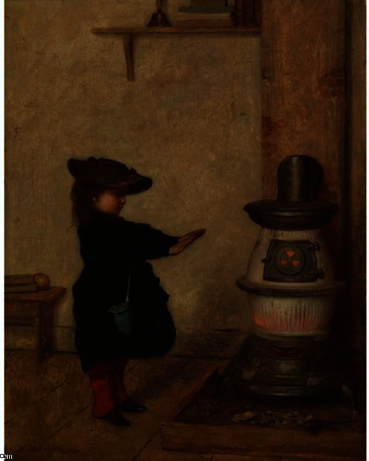 温补她的手 通过 Jonathan Eastman Johnson (1824-1906, United Kingdom)