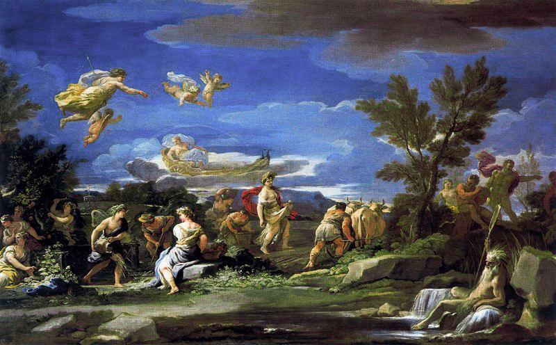 Scena旅游mitologica迪Agricoltura 通过 Luca Giordano (1634-1705, Italy)