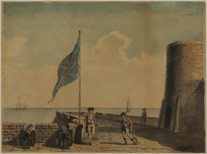 Naval post 随着三 士兵 通过 Paul Sandby (1798-1863, United Kingdom)