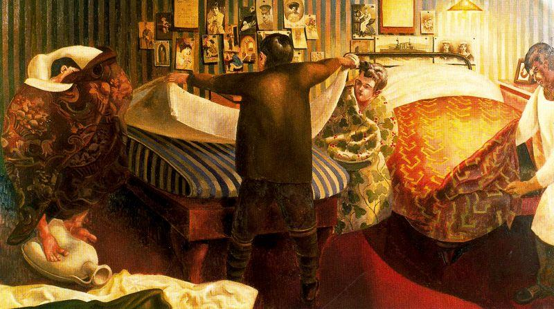 铺床 通过 Stanley Spencer (1891-1959, United Kingdom)