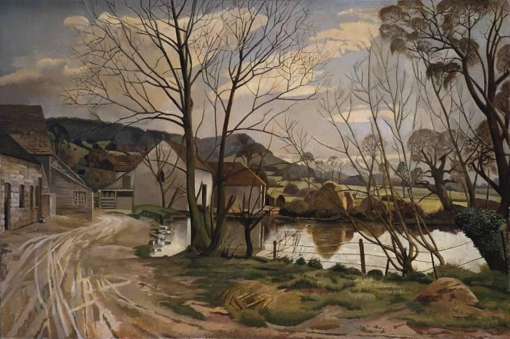 农场池塘 通过 Stanley Spencer (1891-1959, United Kingdom) | ArtsDot.com