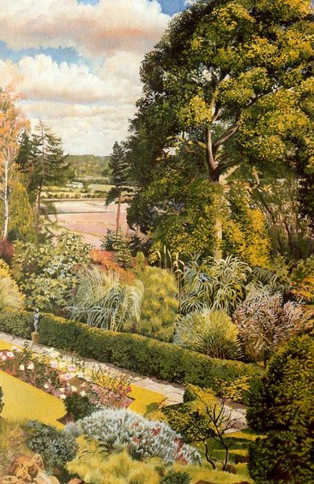 园林景观。提纳的Cookham 通过 Stanley Spencer (1891-1959, United Kingdom) | ArtsDot.com
