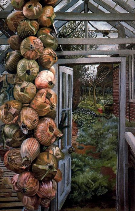 温室 和  花园  通过 Stanley Spencer (1891-1959, United Kingdom)