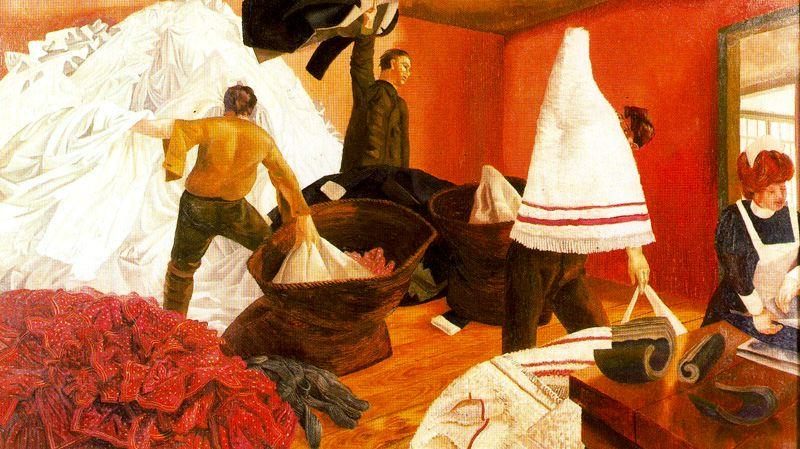 排序洗衣 通过 Stanley Spencer (1891-1959, United Kingdom)