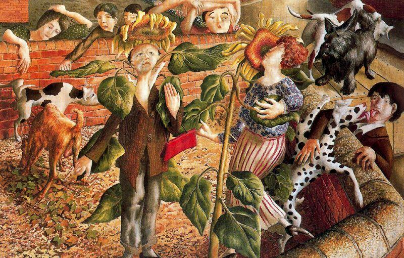 向日葵与狗崇拜 通过 Stanley Spencer (1891-1959, United Kingdom) | 傑作拷貝 | ArtsDot.com