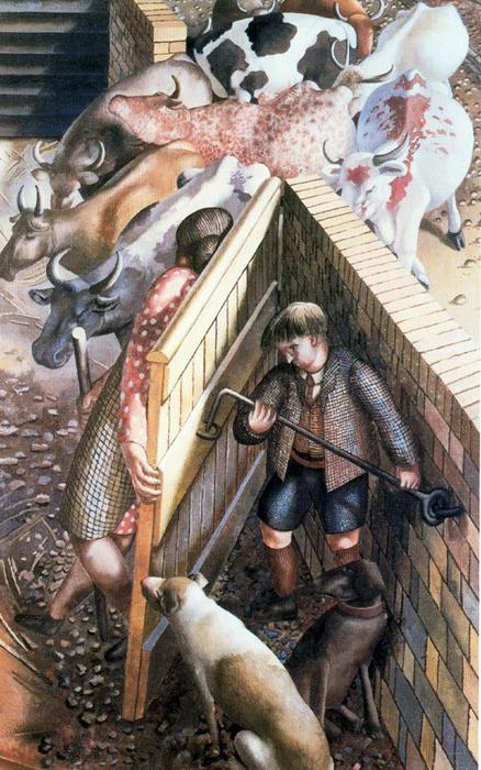 的 农场 门 通过 Stanley Spencer (1891-1959, United Kingdom)