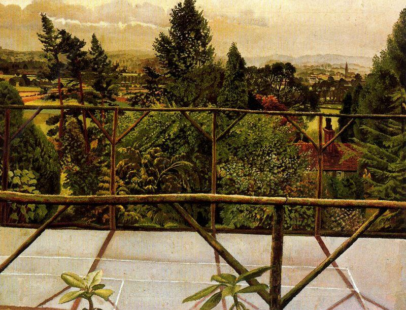 查看从网球场。的Cookham 通过 Stanley Spencer (1891-1959, United Kingdom)