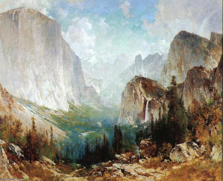 总在风雨后 , Yosemite Valley 通过 Thomas Hill (1829-1908, United Kingdom)