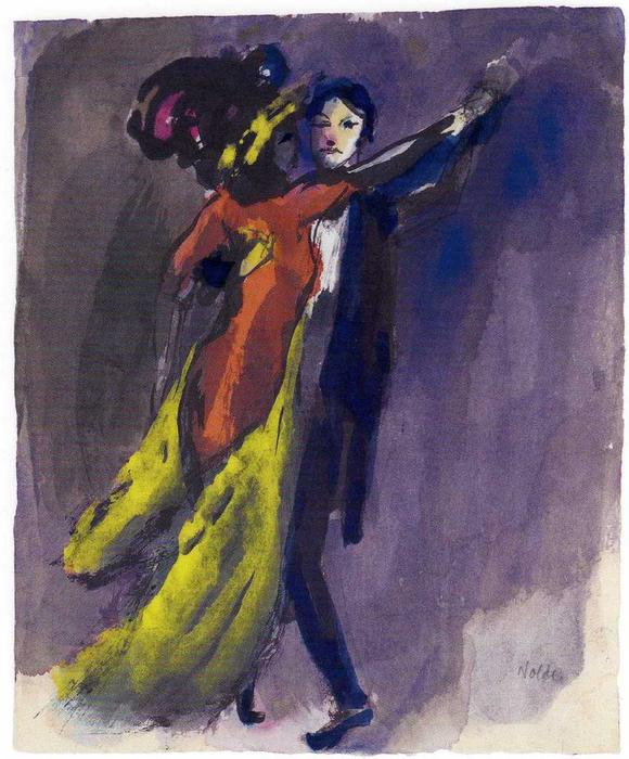 夫妻  跳舞 通过 Emile Nolde (1867-1956, Germany)