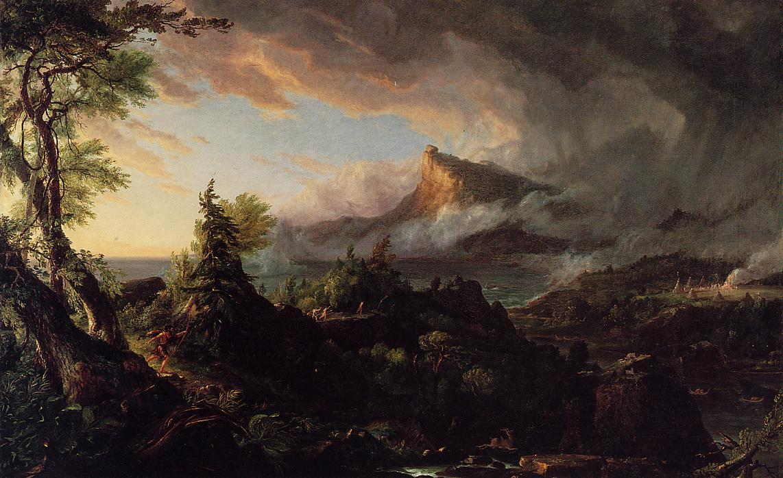课程 of Empire :  的 Savage 州, 布面油画 通过 Thomas Cole (1801-1848, United Kingdom)