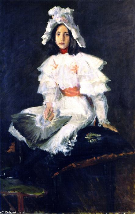 该羽扇, 油画 通过 William Merritt Chase (1849-1916, United States)