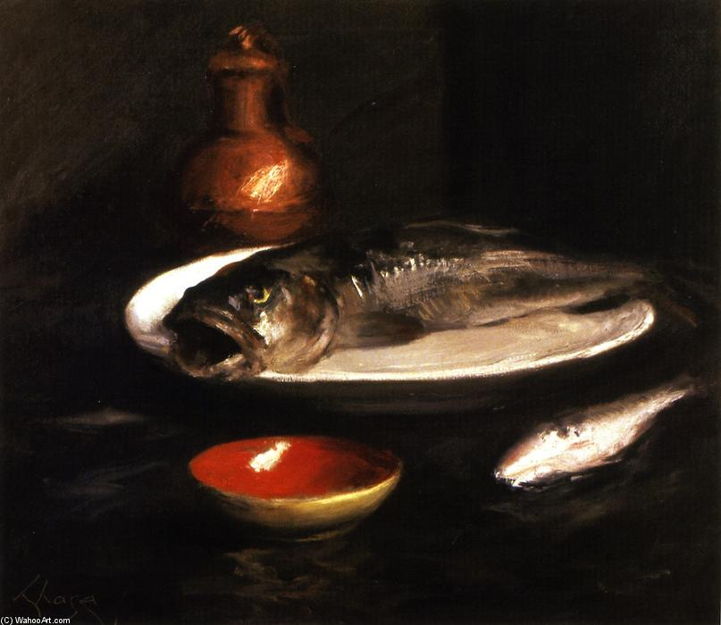 鱼静物, 油画 通过 William Merritt Chase (1849-1916, United States)