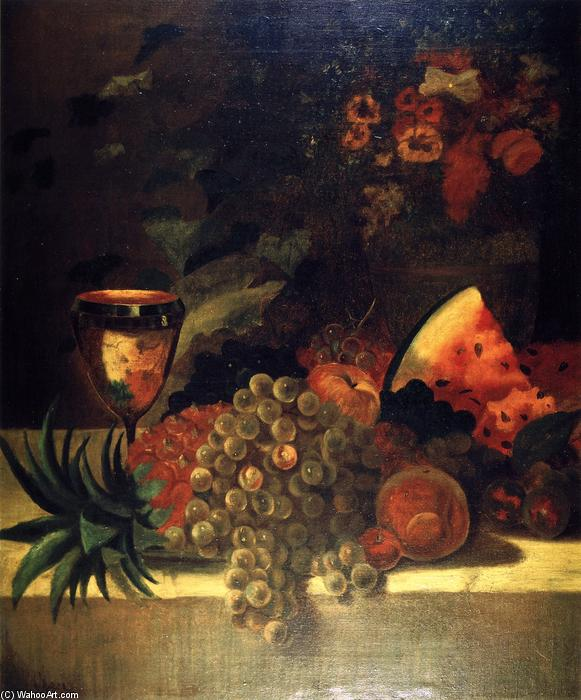 水果和花卉静物(B), 油画 通过 William Merritt Chase (1849-1916, United States)