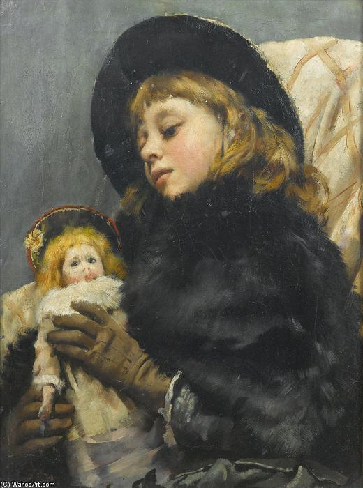 女孩与  娃娃 通过 Thomas Benjamin Kennington (1856-1916, United Kingdom)