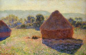 Claude Monet - 在阳光,中午Grainstacks