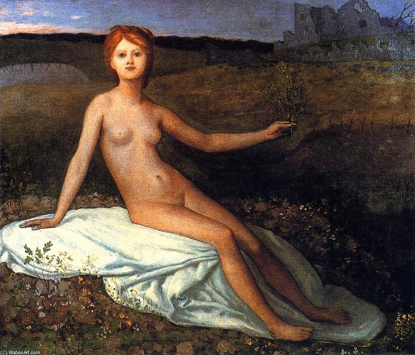 希望, 油画 通过 Pierre Puvis De Chavannes (1824-1898, France)