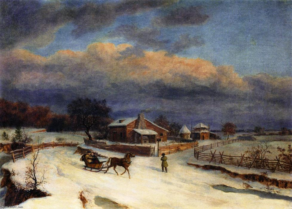 Kennett 广场 Winter, 布面油画 通过 Thomas Birch (1779-1851, United Kingdom)