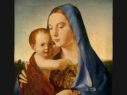麦当娜和儿童, 1475 通过 Antonello Di Giovanni Di Antonio (Antonello Da Messina) (1430-1479, Italy)