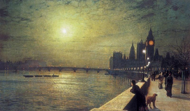 在泰晤士河,威斯敏斯特思考, 油画 通过 John Atkinson Grimshaw (1836-1893, United Kingdom)