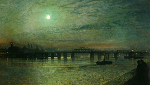 巴特西桥, 1885 通过 John Atkinson Grimshaw (1836-1893, United Kingdom)