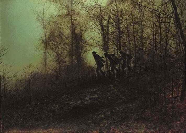 偷猎者, 油 通过 John Atkinson Grimshaw (1836-1893, United Kingdom)