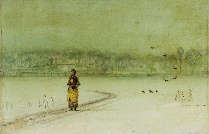 在 冬天 通过 John Atkinson Grimshaw (1836-1893, United Kingdom)