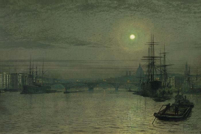 伦敦 桥  夜 通过 John Atkinson Grimshaw (1836-1893, United Kingdom) | 傑作拷貝 | ArtsDot.com
