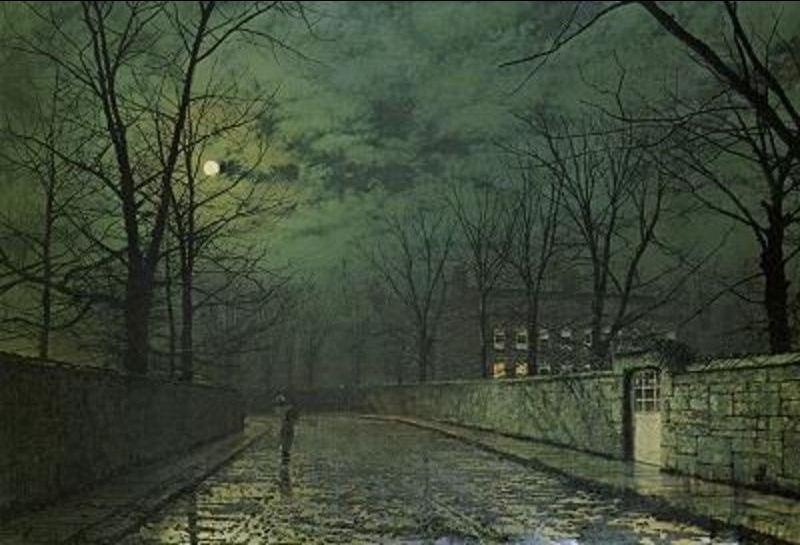 月光  后  雨 通过 John Atkinson Grimshaw (1836-1893, United Kingdom)