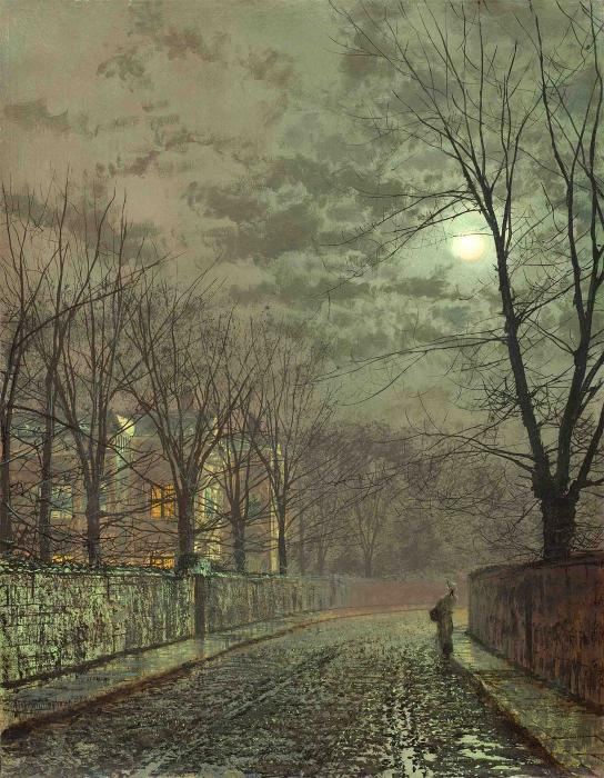 根据月光,Knostrop大厅 通过 John Atkinson Grimshaw (1836-1893, United Kingdom)