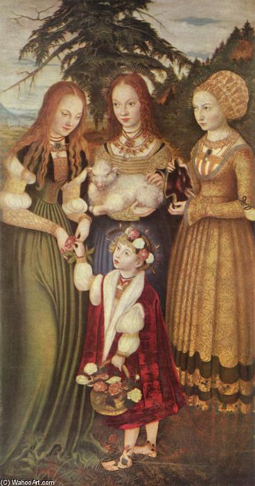 圣徒多萝西娅,Agnes和Kunigunde, 油 通过 Lucas Cranach The Elder (1472-1553, Germany)