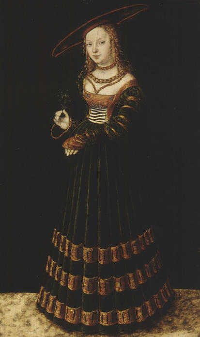 公主, 油在面板上 通过 Lucas Cranach The Elder (1472-1553, Germany)