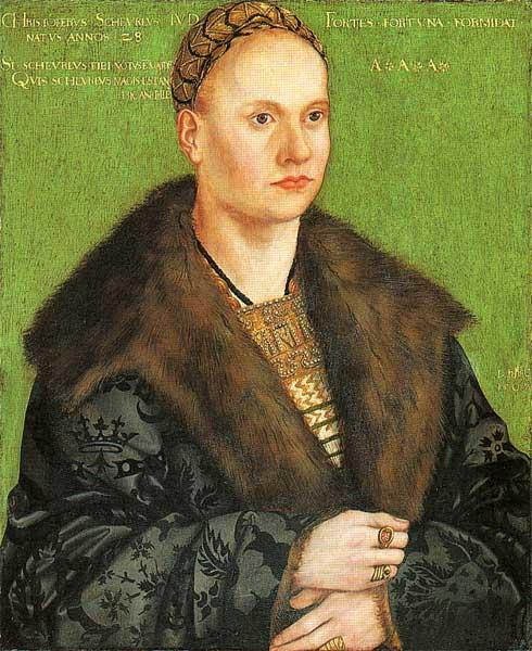 克里斯托夫·冯·Scheurl, 油 通过 Lucas Cranach The Elder (1472-1553, Germany)