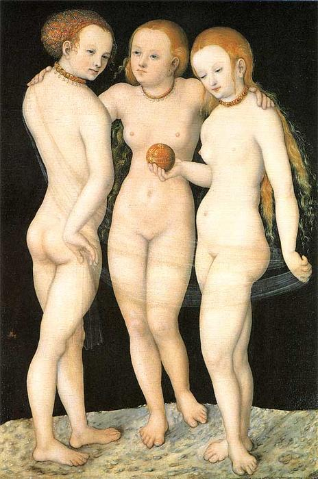 美惠三女神, 油在面板上 通过 Lucas Cranach The Elder (1472-1553, Germany)