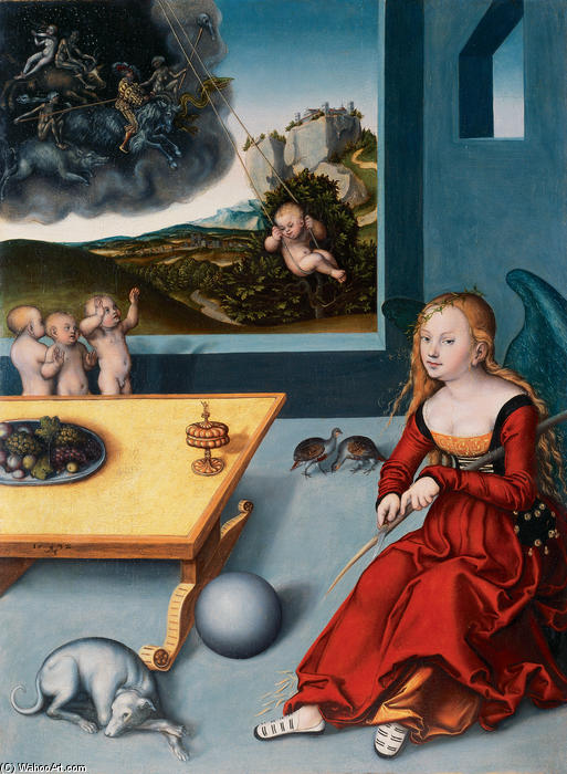 愁绪, 油 通过 Lucas Cranach The Elder (1472-1553, Germany)