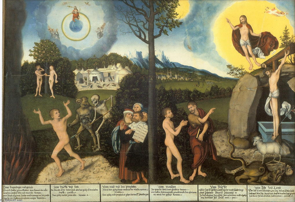 法律和格雷斯, 1529 通过 Lucas Cranach The Elder (1472-1553, Germany)