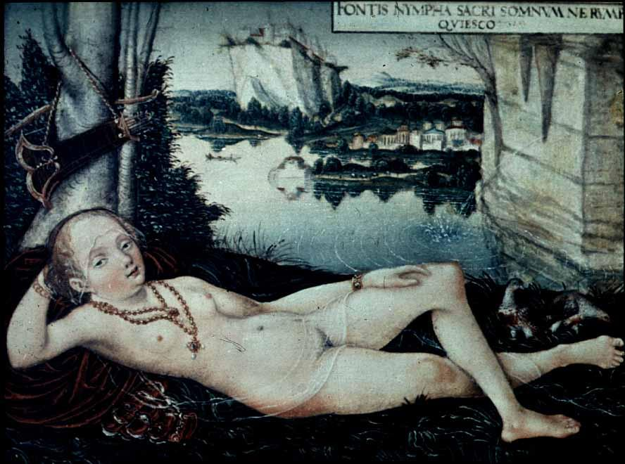 水仙女休息, 1530 通过 Lucas Cranach The Elder (1472-1553, Germany)