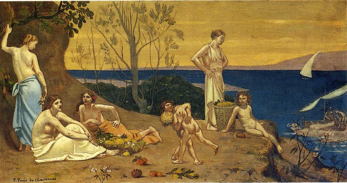 快乐 土地, 1882 通过 Pierre Puvis De Chavannes (1824-1898, France)