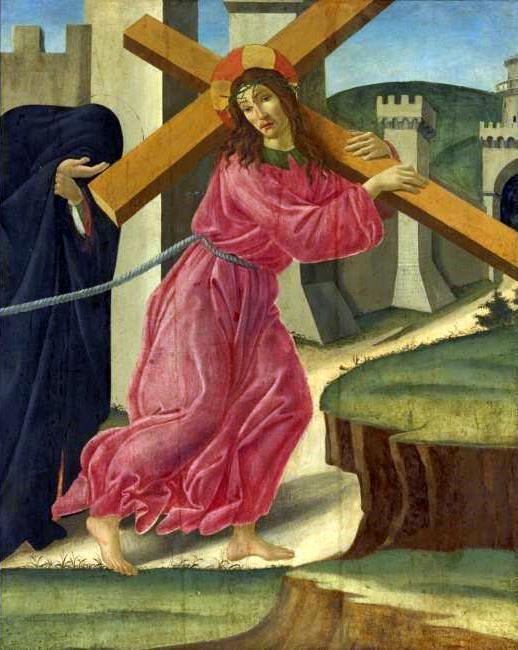 耶稣背着十字架, 蛋彩画 通过 sandro botticelli (1445-1510, (now