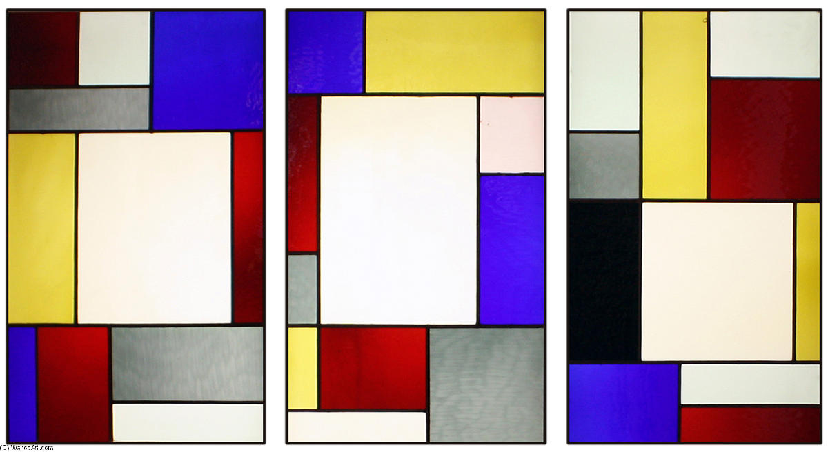 三方 染色 玻璃  窗口 通过 Theo Van Doesburg (1883-1931, Netherlands) | 傑作拷貝 | ArtsDot.com