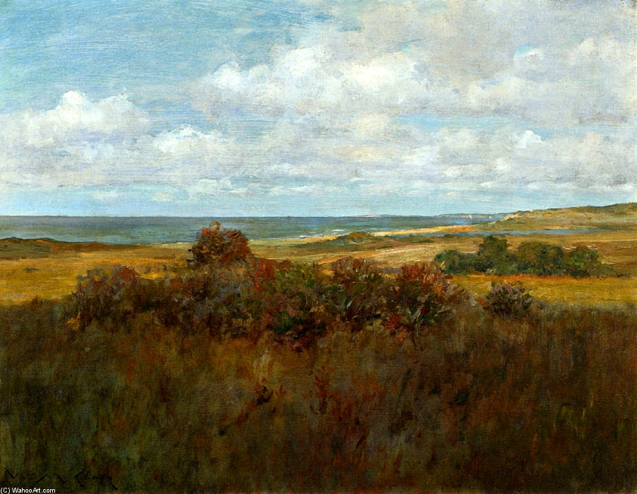 辛纳科克景观04, 油画 通过 William Merritt Chase (1849-1916, United States)