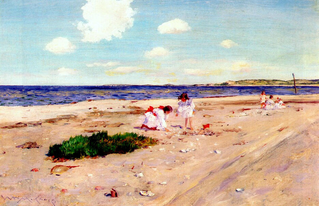 贝壳海滩在辛纳科克, 1892 通过 William Merritt Chase (1849-1916, United States)