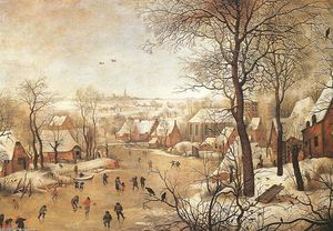 Pieter Bruegel The Younge.. - 冬天 风景  与 a  禽流- `trap`