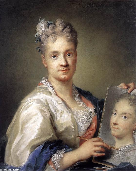自拍  控股 一个 肖像 的 她的  妹妹, 柔和 通过 Rosalba Carriera (1675-1757, Italy)