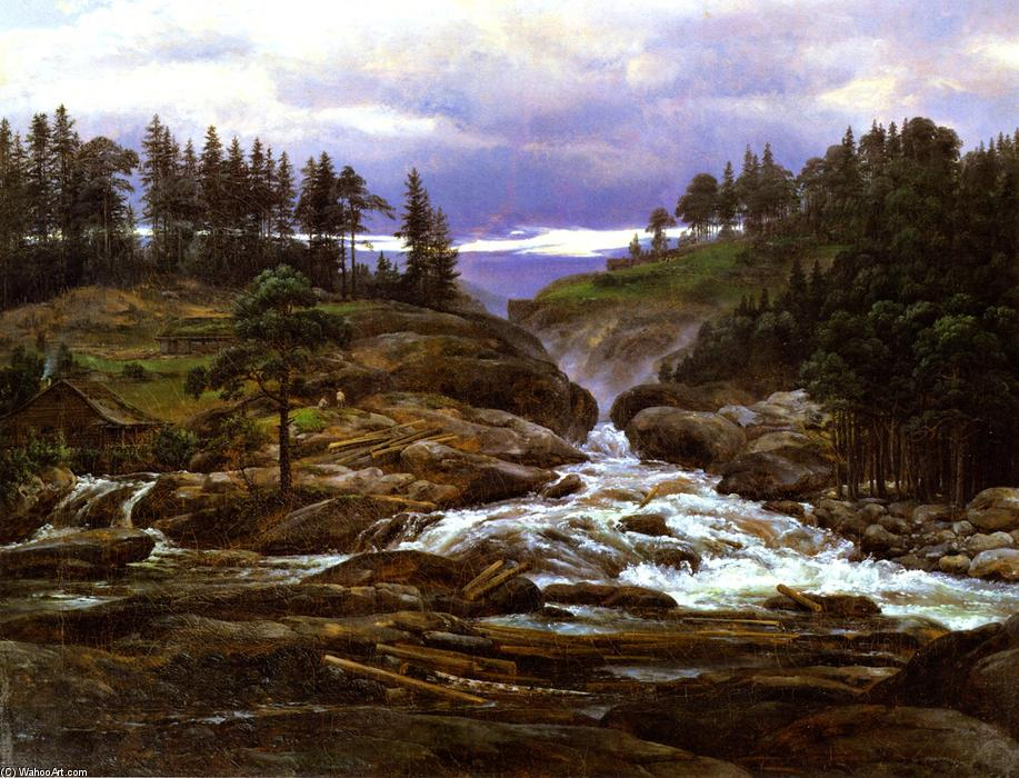 较低 瀑布 of  的 Labrofoss, 布面油画 通过 Johan Christian Clausen Dahl (1788-1857, Norway)
