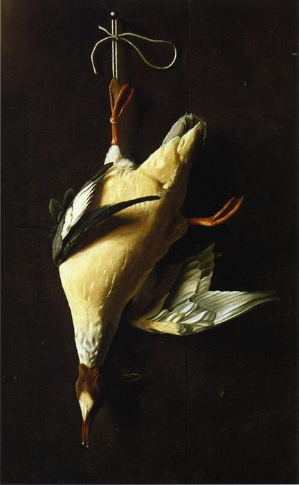 秋沙鸭, 油画 通过 William Michael Harnett (1848-1892, Ireland)